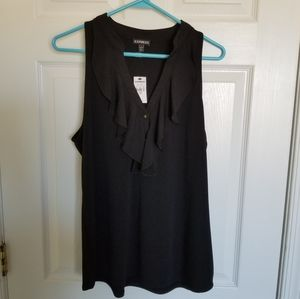 Express Black ruffle tank with gold buttons.